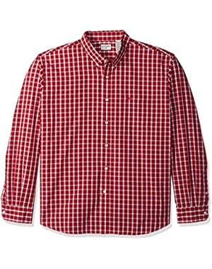 Men's Long-Sleeve Grid Button-Front Shirt with Pocket
