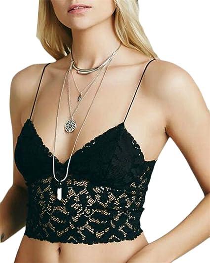 GenericWomen Generic Women s Sexy Floral Lace Bralette Top Spaghetti Strap  Crop Cami Black OS