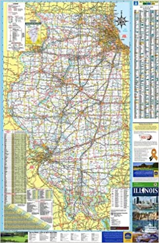 36x54 Illinois State Official Executive Laminated Wall Map: IL Dept ...