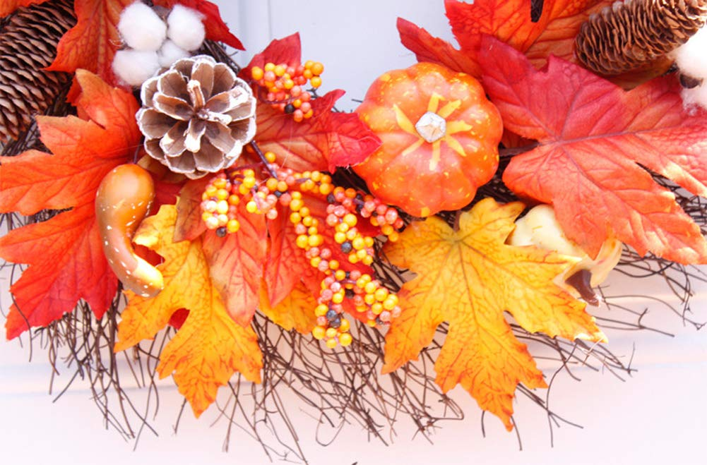 Maple Leaves Artificial Fall Berry Wreath Harvest Wreath Fall for Autumn Wedding Party Halloween and Thanksgiving Home DecorIndoor lymty Wreath,22 Fall Wreath with Pumpkins Berries