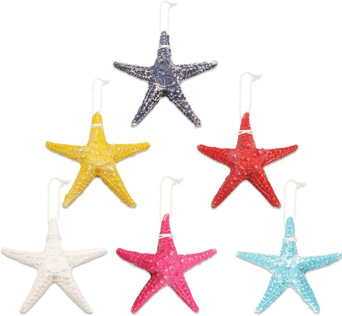 6 Pcs Large Colorful Starfish Decor Resin Knobby Starfish Decorative Flatback Starfish Ornaments for Beach Theme Party DIY Crafts Home Decorations Supplies Wall Decor Christmas Ornaments,5.1 Inch