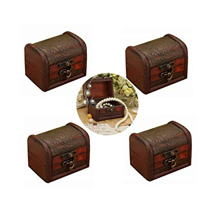 319f9d384c63c Hofumix Jewelry Box Little Treasure Chest Vintage Handmade Box Wooden Rings  Case Box with Mini Metal Lock for Storing Jewelry Treasure Pearl 4Pcs ...
