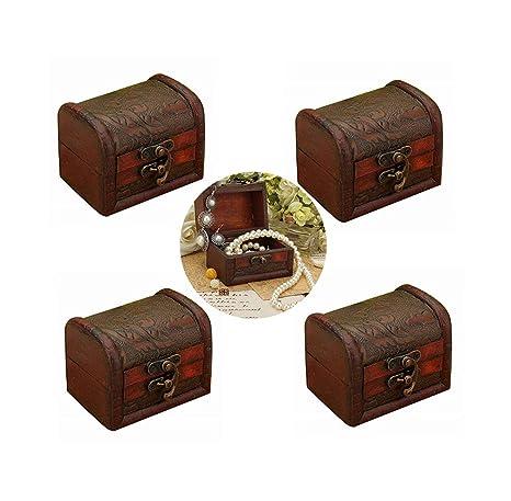 Amazon.com: Hofumix - Caja de joyería con anillos de madera ...