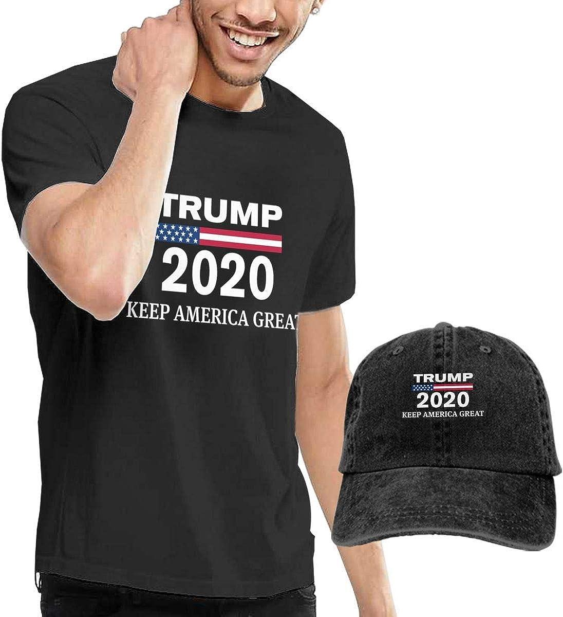 Henrnt Camiseta para Hombre, Trump 2020 Keep America Great 1 Tshirt Short Sleeve Denim Hat