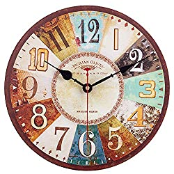 SkyNature Decorative Wall Clock, Wooden Vintage Arabic Numerals Silent Non-Ticking Battery Operated Quartz Movement, Large Rustic Clock for Living, Dining, Bedroom, Kitchen - 12 Inch, Colorful Number