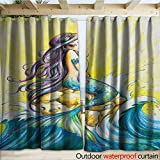 warmfamily Mermaid Waterproof Sliding Door Curtains Magical Mermaid Sitting on Rock Sunny Day Colored Pencil Drawing Effect W108 x L108 Yellow Blue Purple