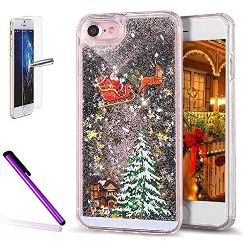 iPhone 7 Plus Case, iPhone 8 Plus Liquid Cover, ISADENSER PC 3D Flowing Quicksand Moving Stars Glitter Snowflake Christmas Tree Santa Claus for iPhone 7 / 8 Plus 5.5