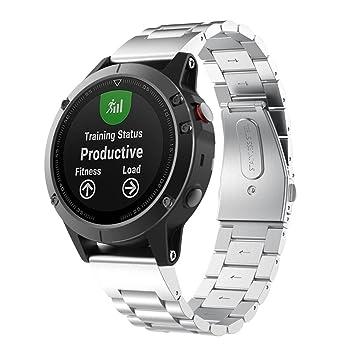 Garmin Fenix 5 reloj banda, sansee repuesto acero inoxidable correa de metal Wirst de ajuste rápido para Garmin Fenix 5, color plata: Amazon.es: Deportes y ...