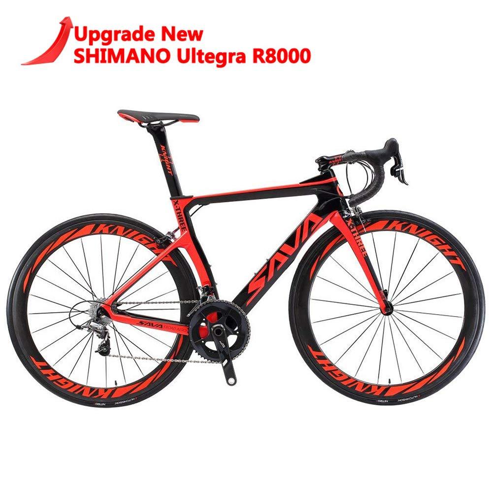 25C Tire and Fizik Saddle SAVADECK Phantom 2.0 Carbon Fiber Road Bike 700C Racing Bicycle with Ultegra 8000 22 Speed Group Set