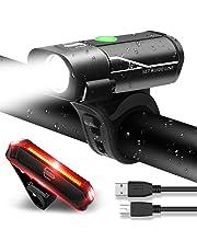 MENERUSKAN Luces de Bicicleta Recargables USB LED Delanteras y Traseras Impermeables