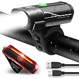 MENERUSKAN Luci Ricaricabili per Bicicletta Set Anteriore e Posteriore Luci a LED per Bici Impermeabili