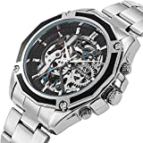 Gute Men Automatic Watch, Casual Silver Tone Auto Self Wind Mechanical Stainless Steel Fold-Over-Clasp Bracelet Watch (Silver)