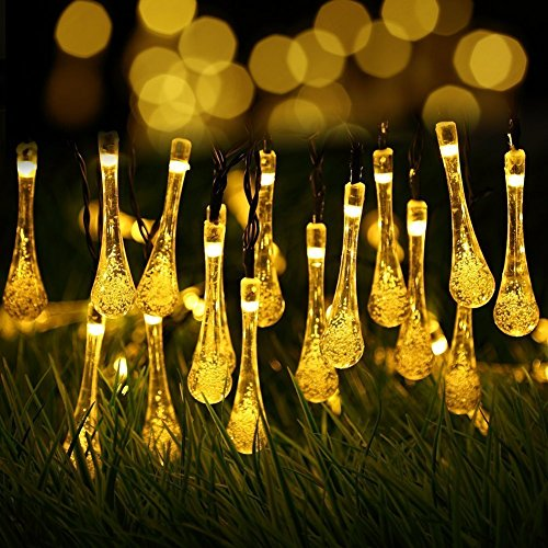 - Berocia Outside String Lights Weatherproof, 20 ft 30 Crystal Water Drop 8 Modes LED Solar Christmas Lights Outdoor Waterproof for Home Garden Lawn Wedding Holiday Decoration (Crystal Yellow)