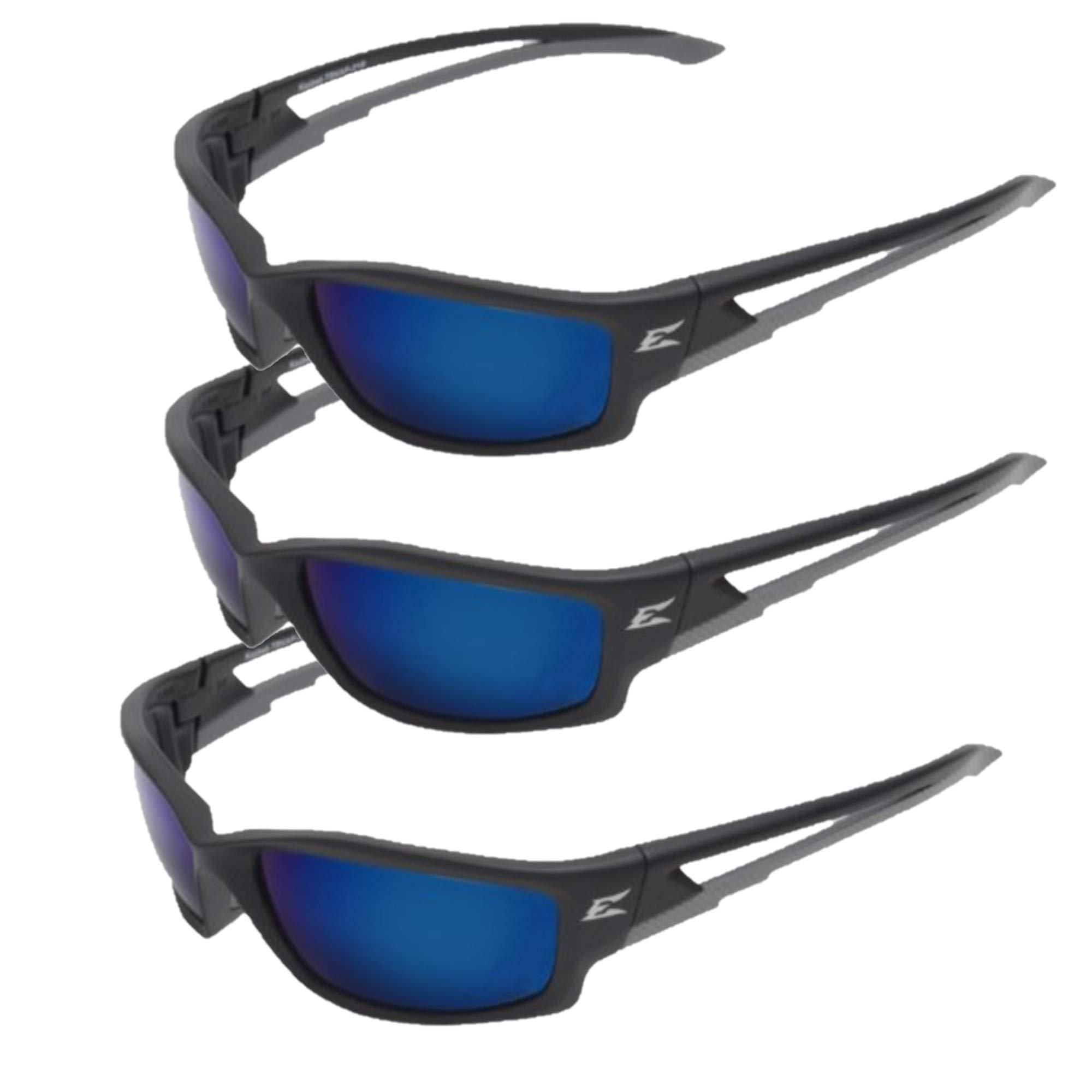Edge Eyewear TSKAP218 Kazbek Polarized Safety Glasses, Black with Aqua Precision Blue Mirror Lens (3)