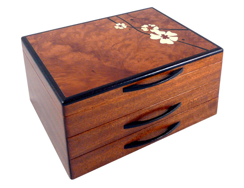 American Made Heartwood Moon Flower Marquetry Jewelry Box with 2 Drawers