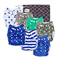 Nautical Baby Cloth Pocket Diapers 7 Pack, 7 Bamboo Inserts, 1 Wet Bag by Nor...