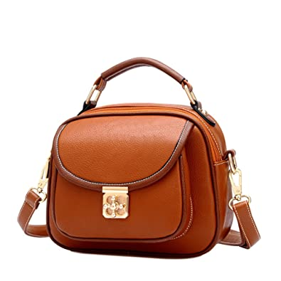 0627692840 Keral Womens Retro Zipper PU Leather Small Shoulder Crossbody Bag Brown