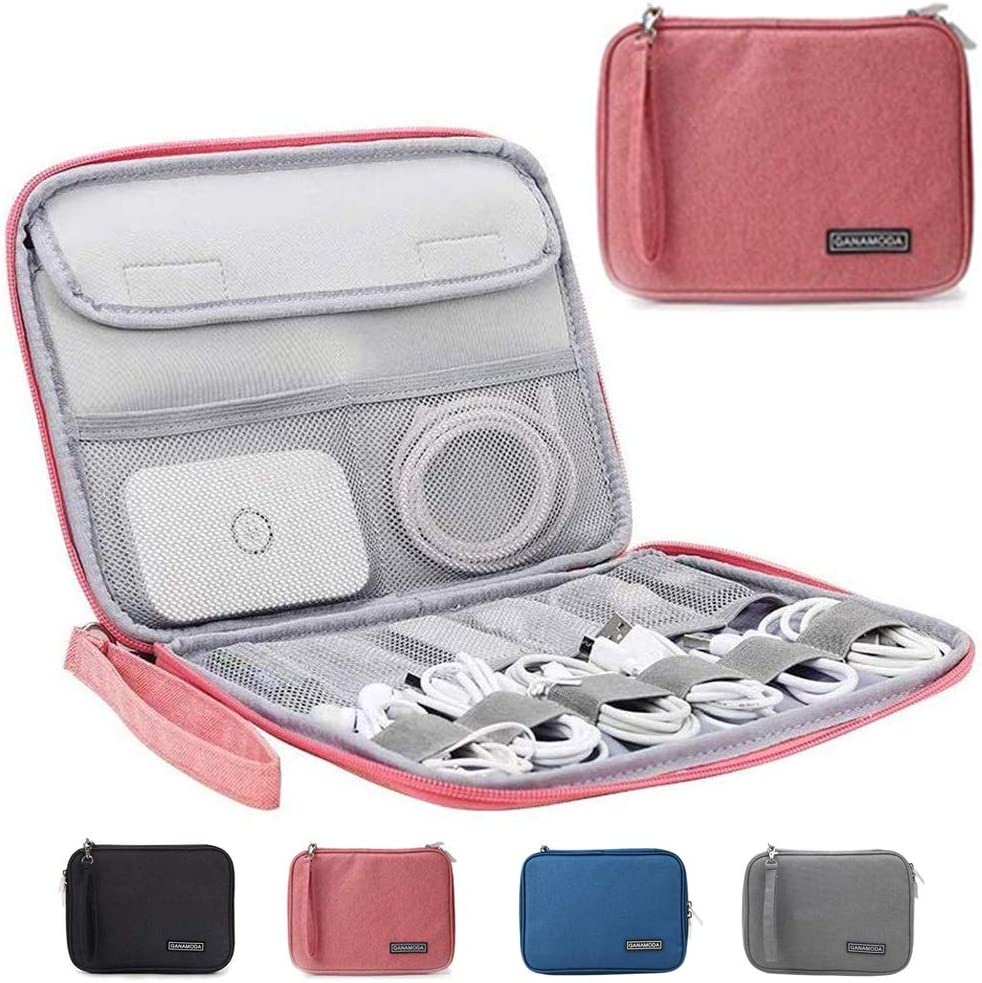 Electronics Organizer, GANAMODA Electronic Accessories Cable Bag Waterproof Travel Cable Storage case for USB Charging Cable Phone Mini Tablet and More(Pink)