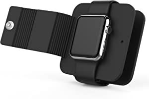 MoKo Watch Charging Case Compatible with iWatch Series 6 5 4 3, Soft Silicone Charger Holder Stand Dock/Protective Storage Travel Carrying Case Fit iWatch Series 40mm/ 44mm, 38mm/ 42mm, Black