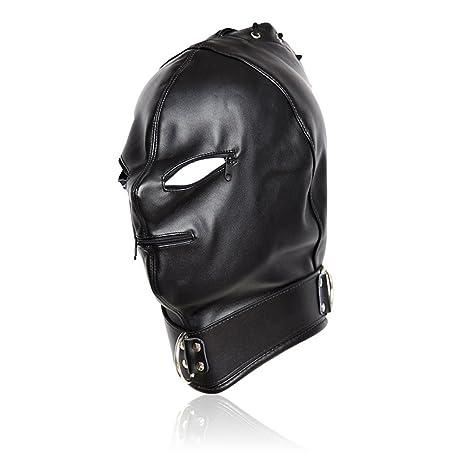 Amosfun Cabeza ajustable de cuero de la PU Bondage Hood Máscara Boca abierta con cremallera Pareja