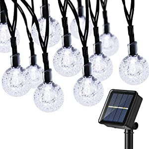 BrizLabs Solar Globe String Lights, 38.35ft 60 LED Solar String Lights Outdoor, 8 Modes Crystal Balls Waterproof Solar Powered String Lights for Patio, Garden, Yard, Bistro, Balcony Decor, Cool White