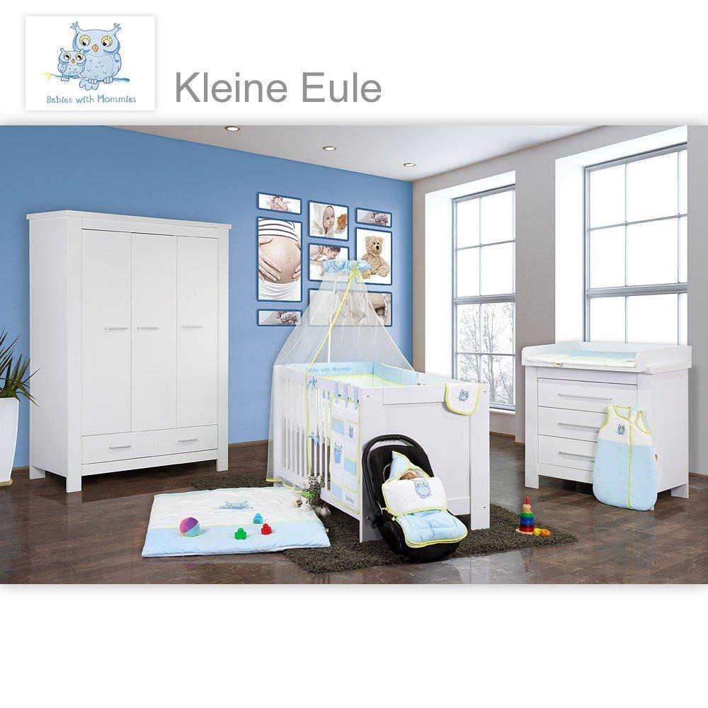 Babyzimmer Enni in weiss 9 tlg. mit 3 türigem Kl. + Textilien von Kleine Eule, Blau
