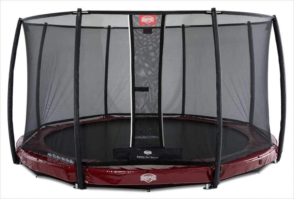 BERG InGround Elite 380 12.5ft Trampoline + Safety Net Deluxe Red ...