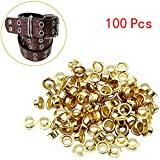 ❤Ywoow❤ Eyelets, 100 Pcs 4mm Titanium Eyelets with Washer Leather Tool Craft Repair Grommet