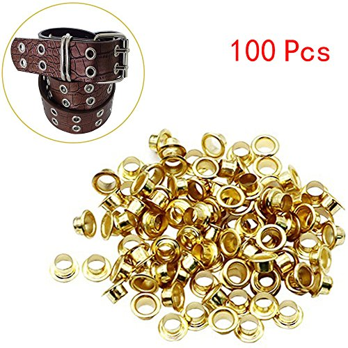 ❤Ywoow❤ Eyelets, 100 Pcs 4mm Titanium Eyelets with Washer Leather Tool Craft Repair Grommet -