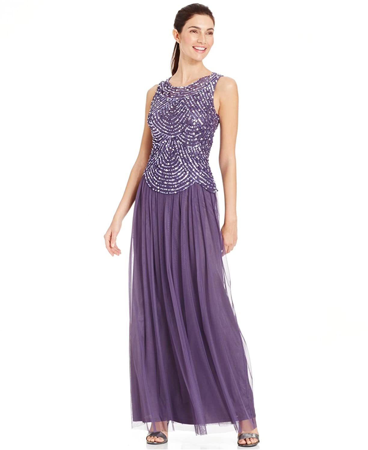 Patra Womens Sequined Sleeveless Formal Dress Purple Size 4 At