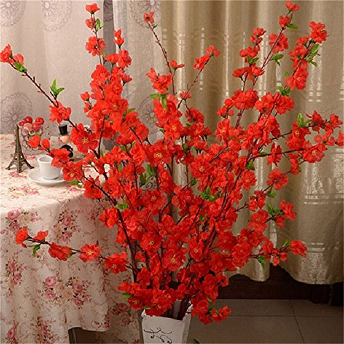 5Pcs Spring Peach Blossom Cherry Plum Bouquet Branch Silk Flower,Artificial Flowers Fake Flower for Wedding Home Office Party Hotel Yard -