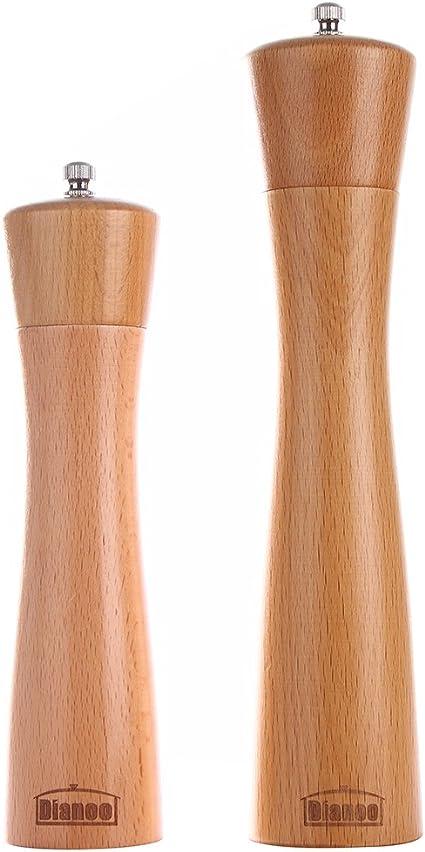 Dianoo 2PCS Haute qualit/é Anti-chute Bois de ch/êne Moulin /à poivre et Grinder 2PCS 8 est un pouce, lautre est un 5 pouce Rectification en bois noyau c/éramique sel et poivre moulin