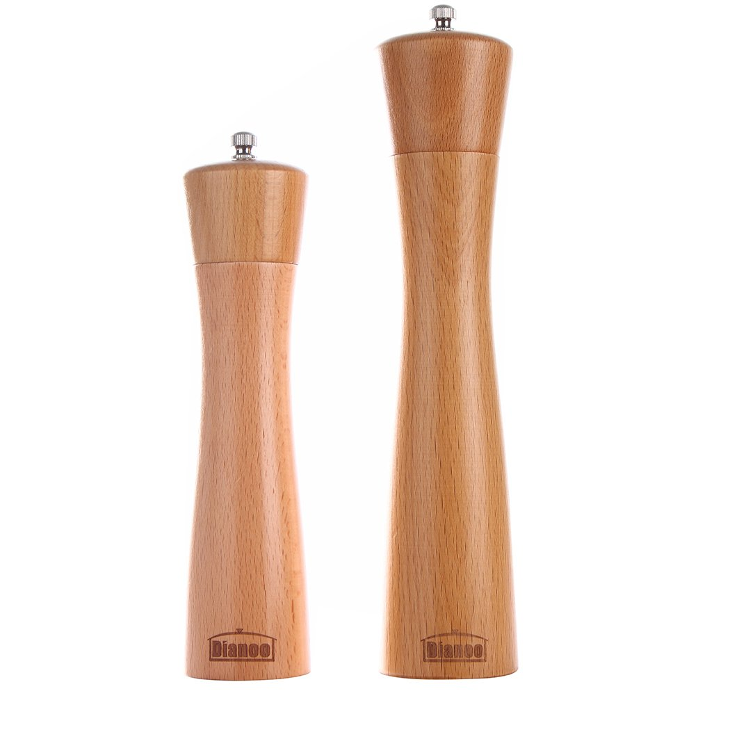 2PCS Dianoo Wood Pepper Grinder Salt And Pepper Mill Set Wooden Adjustable Shakers with Ceramic Core 8 Inch And 10 Inch worth2buy