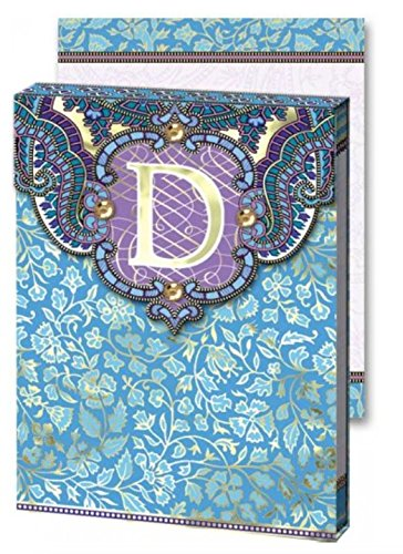 D Monogram Punch Studio Paisley 75-Page mini notepad - magnetic closure jewel on tab (Monogram Jewel)
