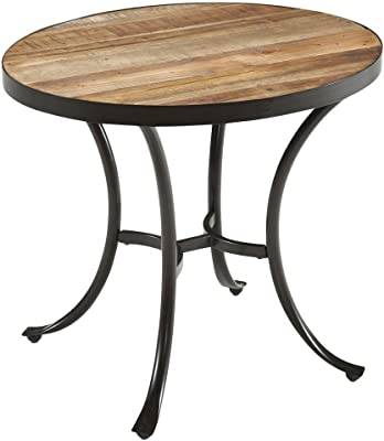 ModHaus Living Country Style Reclaimed Wooden Top Oval Shaped End Coffee Table   Metal Frame, Natural Finish, Living Room Decor - Includes Pen