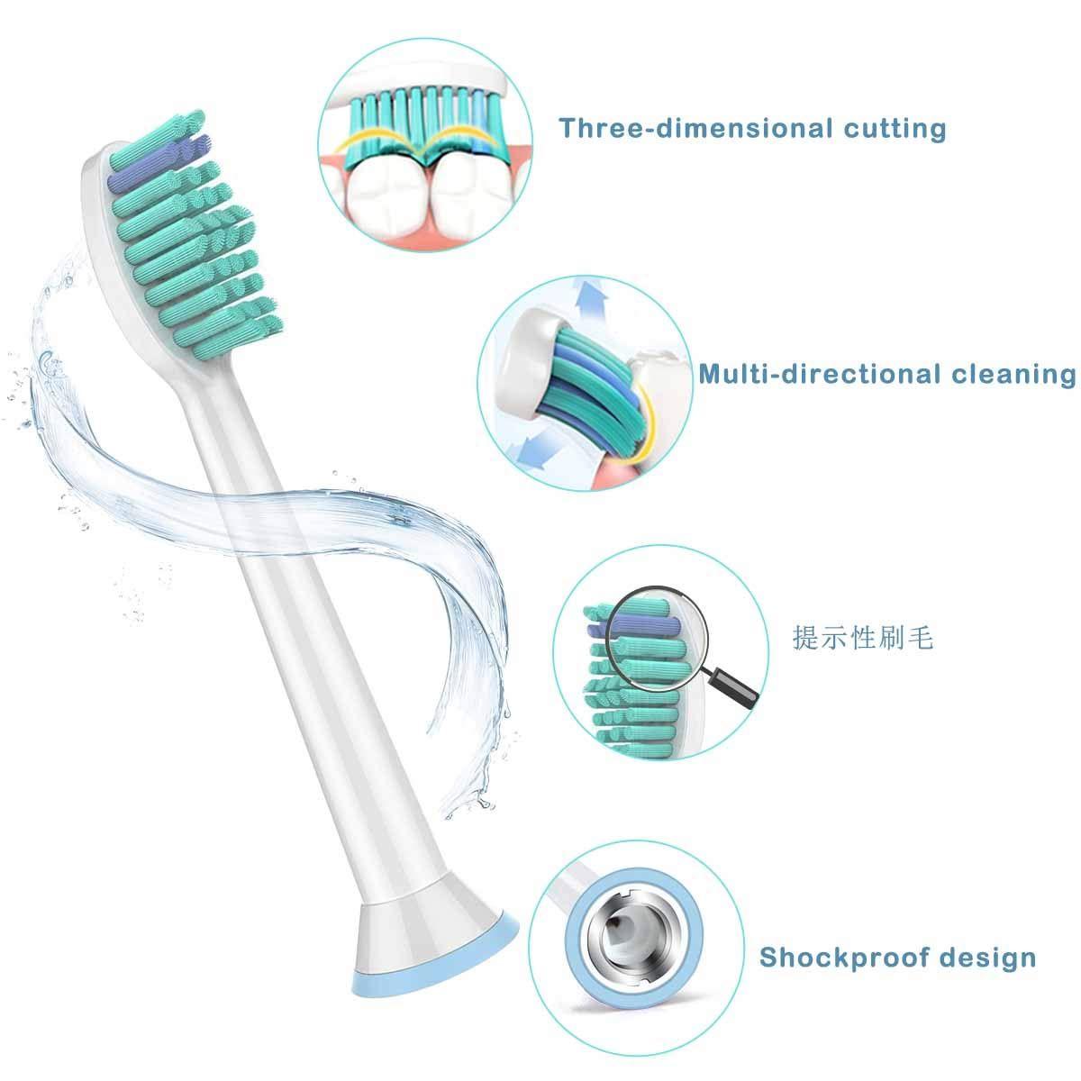 Sonicare Brush Heads Replacement Toothbrush Heads For Philips Sonicare [10  Pack] Electric Toothbrush replacement heads for
