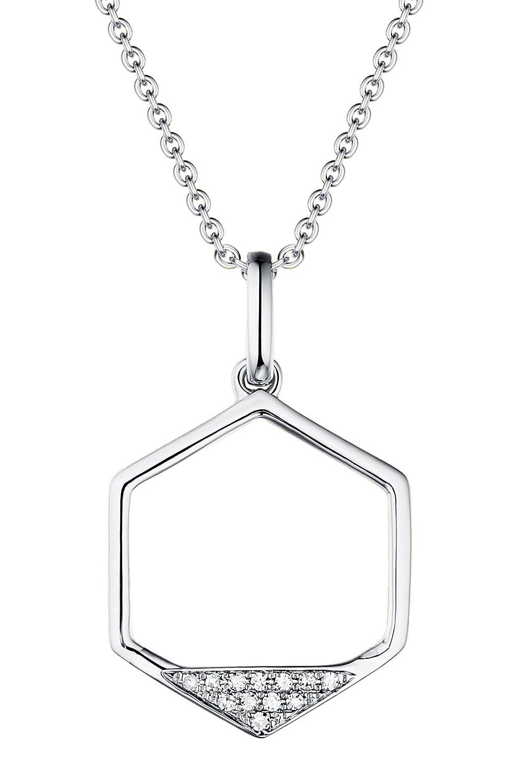 Prism Jewel 0.03CT G-H//I1 Natural Diamond Open Hexagon Shape Pendant 14k White Gold