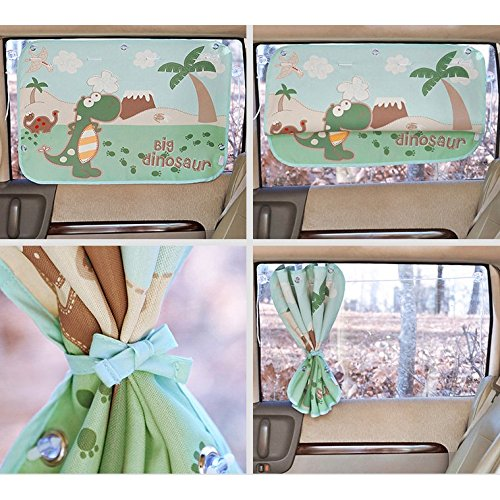Car Sun Shade Curtain for Side Window for baby kids children - Car Sunshade Protector - Protect kids and pets from sun glare and heat. - Design Car Interior Sun Blocker Blind (Dinosaur)