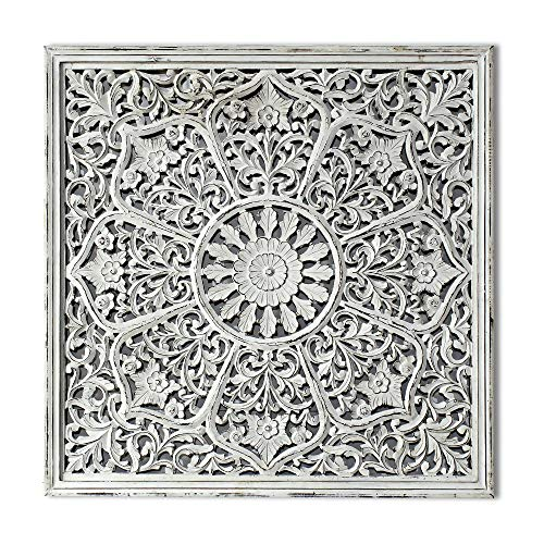 Decorlives 48 inch Hand Carving on Wood Antique White Large Wall Art Decorative Sculpture Hanging Wall Décor