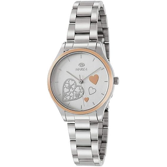 Marea B41240/5 Reloj para Mujer con Correa Plateada y Pantalla en Blanco: Amazon.es: Relojes
