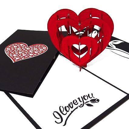 Carte De Carte Coeur Pop Up I Love You Amour Fiançailles