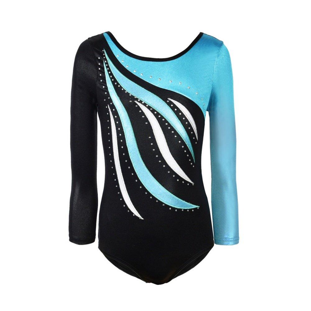 TeenTop Girls One Piece Long Sleeve Gymnastics Leotards Shiny Waves Ballet Dance Wear