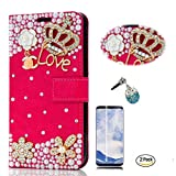 STENES Galaxy S9 Plus Case - 3D Handmade Crown Flowers Wallet Card Slots Fold Leather Cover Case Blue Cute Night Owl Dust Plug,Screen Protector for Samsung Galaxy S9 Plus - Red