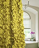 Ds Olive Gold Cut Flower Hand Made Shower Curtain 72'' Square Button Holed Without Liner