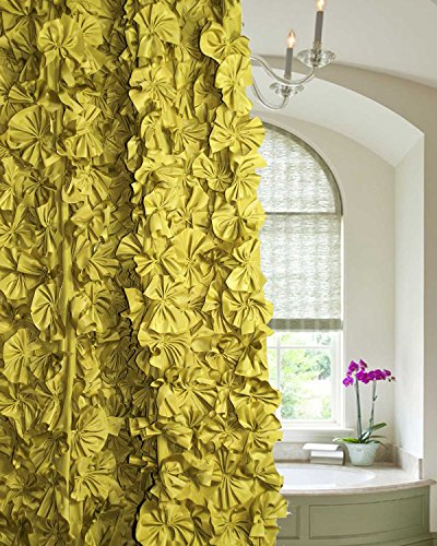 Ds Olive Gold Cut Flower Hand Made Shower Curtain 72'' Square Button Holed Without Liner by DS