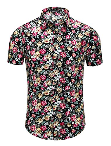 uxcell Men Short Sleeve Button Front Floral Print Cotton Beach Hawaiian Shirt Black Pink Yellow Floral Print M(US ()