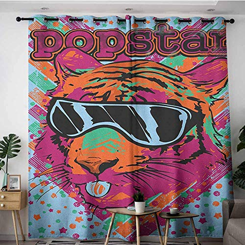 AGONIU Thermal Insulating Blackout Curtains,Popstar Party Popstar Poster Design Artistic Lion Painted with Sunglasses Dots and Stars,Curtains for Living Room,W72x96L Multicolor