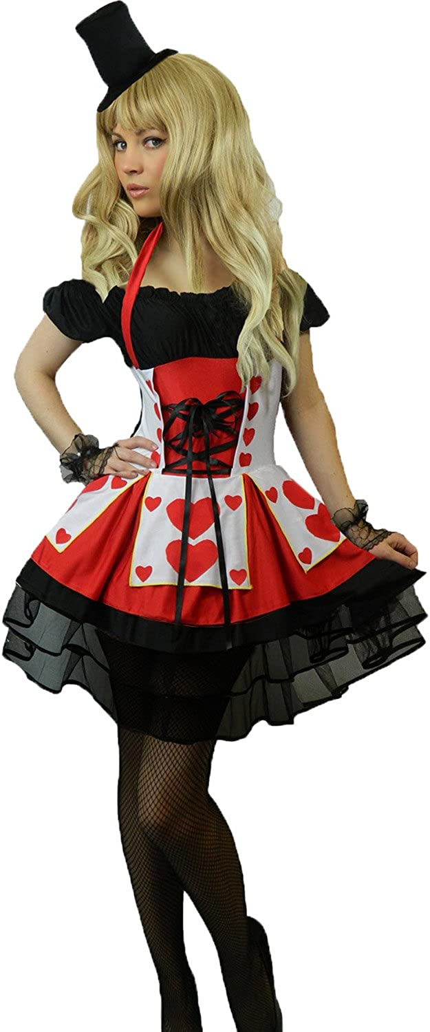 Ladies Queen of Hearts Alice in Wonderland Fancy Dress Costume Outfit Plus Size