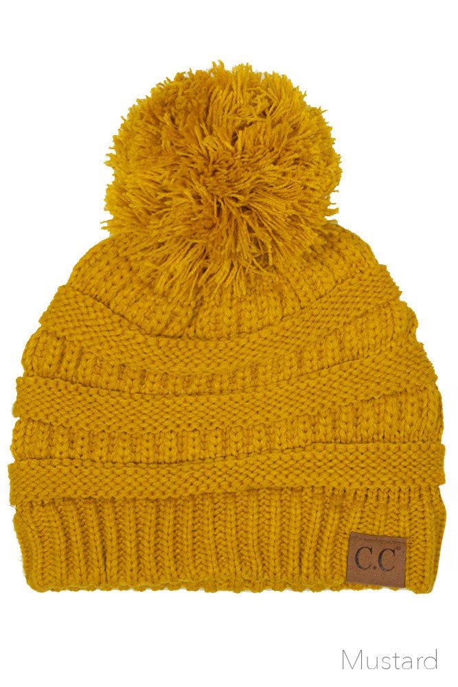 ScarvesMe Exclusive CC Knitted Beanie with Knit Pom Pom (Mustard)