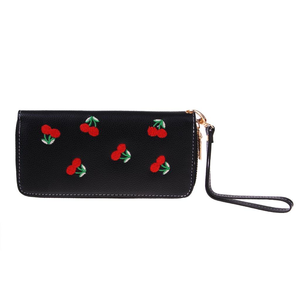 Homyl Girls Lady Clutch Leather Wallet Long Card Holder Cherries Print Bag Purse Handbag - black, 18 x 10 x 2cm